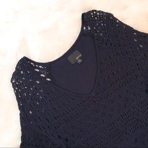 Anthropologie • Greylin Navy Blue Crochet Top